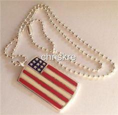 USA American Flag Dog Tag  Necklace & Pendant  Silver Americana Patriotic  USA Seller