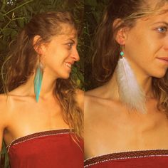 Feather earrings . Special Feather.  Authentic Earring, Gypsy, Tribal Earrings, Handmade Earrings, Fairies by CuraWay on Etsy