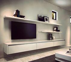clean entertainment wall shelving