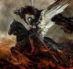 The Forgotten Knight Fantasy Art Fantasy Art Men, Fantasy Kunst, Fantasy Warrior, Dark Fantasy, Angels Among Us, Angels And Demons, Horsemen Of The Apocalypse, Pale Horse, Angel Warrior
