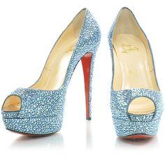 CHRISTIAN LOUBOUTIN Strass Lady Peep Toe 150 Pumps 38 Sapphire ❤ liked on Polyvore