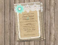 Pearl, Rustic Wedding Invitation, burlap, lace, turquoise vintage brooch, Digital file, Printable