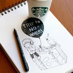 New Playful Doodling with Starbucks Cups by Tomoko Shintani