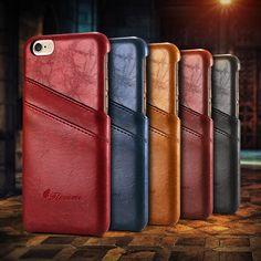 Caso de cuero de lujo de estilo de negocios para el iphone 6 6 s plus cubierta titular de la tarjeta carpeta de la manera de shell funda para iphone 7 7 plus caso