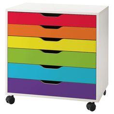 ikea alex drawer decal - My Wonderful Walls Rainbow Paper, Rainbow Room, Rainbow Theme, Rainbow House, Kids Play Spaces, Kids Rooms, Kids Bedroom, Ikea Alex Drawers, Craft Desk