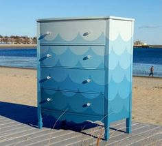 Fun Ombre Wave Painted Dresser!
