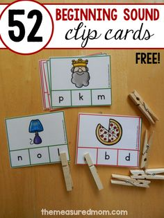 These beginning sound clip cards are a wonderful free beginning sounds activity!… These beginning sound clip cards are a wonderful free beginning sounds activity! Print them to use in preschool, kindergarten, or even first grade. Kindergarten Centers, Kindergarten Reading, Preschool Learning, Classroom Activities, Preschool Kindergarten, Beginning Sounds Kindergarten, Preschool Letter Sound Activities, Letter Sound Games, Letter Recognition Kindergarten