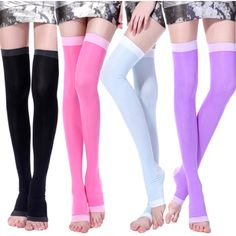 Enhance your circulation while maintaining your signature style with these on-trend over-the-knee compression socks. Designed with a supportive blend of spandex and nylon, these slimming hose reduce fluid retention and come in several cute colors.