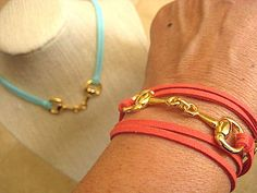 Equestrian Horse Snaffle Bit Triple Wrap Bracelet, Choker, Anklet, Necklace, Faux Suede  by CelebrityTrendz, $16.00