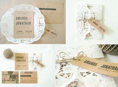 Rustic Romance Wedding Invitations Doily Kraft Paper