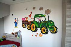 Muurschildering tractor