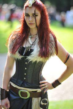 Model: Elysium Fleur Photography: Ed de Jong Castlefest 2012, The Netherlands Pagan, warrior, skull, bones, corset, horn, fantasy, tribal