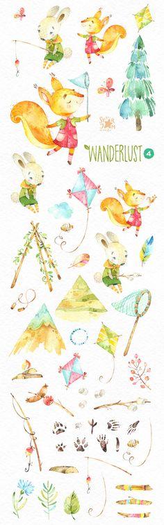 Wanderlust 4. Watercolor animals clipart squirell bunny