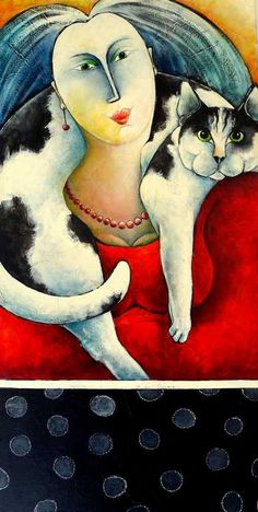 "Carla Raadsveld ""Cat People"" 50x100 cm (for lots more paintings with cats pls check www. carlaraadsveld.com)"