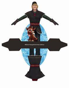 Kristoff from Frozen: Free Printable Dress Shaped Box. Frozen Birthday Theme, Disney Princess Birthday, Birthday Parties, Disney Frozen Party, Frozen Free, Ana Frozen, Festa Frozen Fever, Imprimibles Toy Story, Disney Paper Dolls