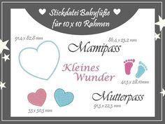 Stickdatei ♥ Mutterpass ♥ Babyfüße