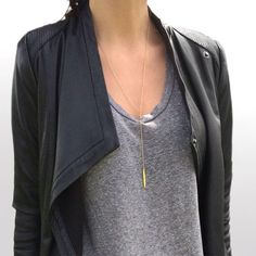 I like this modern take on a blazer| @andwhatelse  I love the simple elegance of this, the modern take on a blazer, a tshirt and elegant lariat necklace.  Perfect.  Please...how do I find this??