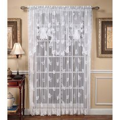 """$10.49 Butterflies Lace Window Treatments: Butterflies Lace Window Treatment features images of the winged beauties and scroll designs on 100% polyester lace. Bottom is scalloped along contours of butterflies. Rod pocket is 1.5"""". Tailored Panel is available in two lengths. Fan Swag Valance has ribbon in center to create fan. Machine wash warm."""