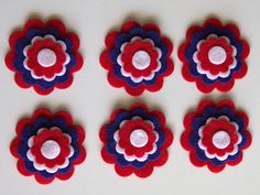 Items similar to Patriotic Felt Flower Die Cut, 6 flower set, 30 pieces Eco-friendly Die Cut Felt ,July on Etsy Hair Bow Supplies, Felt Flowers, Die Cutting, July 4th, Etsy Store, Gift Tags, Create Yourself, Picture Frames, Craft Supplies