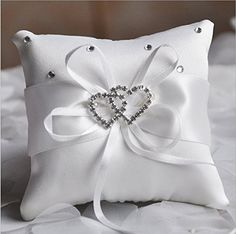 Hosaire White Ring Pillow Bow Diamond Double Heart Shaped Wedding Decoration *** Check out this great product.