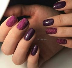 Sweet Burgundy glitter nails