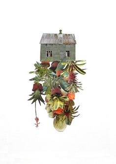 """Room cactus"", collage, paper and thread on paper by Happy Red Fish"