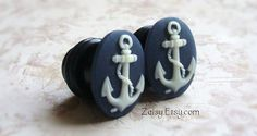Anchor Cameo Plugs for Gauged Ears Sizes 1/2 inch, 00g, 0G, 2G, 4G , 6G, 4mm, 5mm, 6mm, 8mm, 10mm, Also For Pierced Ears. $24.99, via Etsy.
