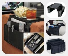 CHAIR ARM REST 6 POCKET ORGANISER SNACK TRAY TV REMOTE CONTROL PHONE DVD TIDY