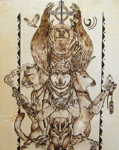 *Totem Animals* *Pyrography on Maple Wood*