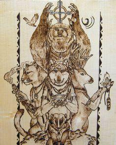 *Totem Animals* *Pyrography on Maple Wood*