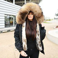Puffer Coat With Fur, Fox Fur Coat, Fur Bomber, Bomber Jacket, Winter Fur Coats, Rabbit Fur, Fur Collars, Coats For Women, Parka