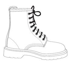 Image for the resource: Doc Marten Template Fashion Design Sketchbook, Fashion Design Drawings, Fashion Sketches, Zentangle, Shoe Template, Paper Shoes, Flat Drawings, Shoe Sketches, Fashion Templates