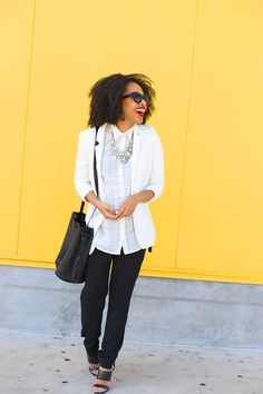 A White Blazer makes for a chic look and adds volumes to your wardrobe.Checkered Shirt + White Blazer - Mattieologie