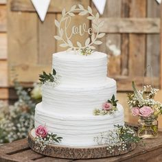 Wooden Love Wedding Cake Topper Decoration By Ginger Ray | notonthehighstreet.com Country Wedding Cake Toppers, Rustic Country Wedding Decorations, Gold Wedding Decorations, Wedding Cake Rustic, Round Wedding Cakes, Wedding Cake Photos, Wedding Ideas, Country Weddings, Wedding Cake Designs