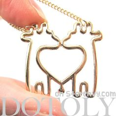 Double Giraffe Outline Heart Shaped Animal Pendant Necklace in Gold