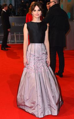 The Theory of Everything star is nominated in the Best Actress in a Leading Role category. She wowed wearing a Dior Haute Couture gown, plus Van Cleef and Arpel vintage earrings and Brian Atwood heels.