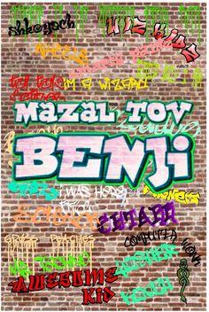 Bar mitzvah graffiti sign in board