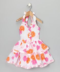 Love this Lele for Kids Pink & Orange Floral Halter Dress - Toddler & Girls by Lele for Kids on #zulily! #zulilyfinds