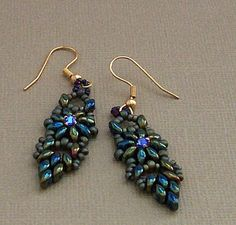 Free tutorial:  Bead Mavens: Tah Dah Duo Drop Earrings by Twyla~