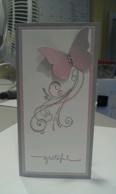 Stampin up thank you card with butterfly.  Priceless and small script stamp sets. Flower Cards, Butterfly Cards, Wings Card, Purple Cards, Retirement Cards, Color Card, Sympathy Cards, Paper Cards, Stampin Up Cards