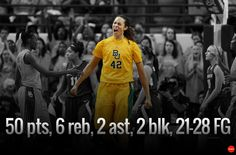 Heck of a Senior Night for #Baylor's Brittney Griner. Oh, and she moved into second all-time in NCAA career scoring. And she threw down her 14th career dunk (7th of the year). #sicem (via @USATODAYsports)