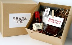 DIY wedding groosman gift box: mini flask (, a miniature bottle of whiskey, and a delish little treat - black & tan brownies. If you're gifting your groomsmen with a tie or other small gift, you could tuck that in as well