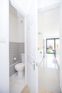 Redbridge, London, Side Return Extension, Kitchen Extension, Ground Floor F. Small Downstairs Toilet, Small Toilet Room, Downstairs Cloakroom, Kitchen Extension With Downstairs Toilet, Sliding Door Design, Sliding Doors, Understairs Toilet, Space Saving Toilet, Bathroom Under Stairs