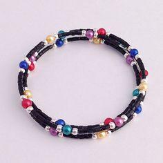 Memory Wire Wrap Bracelet, Rainbow Pearl Beaded Memory Wire Bracelet, Triple Wrap Around Braclet, Multicolor Wrapped Bracelet Memory Wire Bracelets, Seed Bead Bracelets, Seed Beads, Beaded Necklaces, Jewelry Bracelets, Denim Bracelet, Bracelet Fil, Jewelry Crafts, Jewelry Art