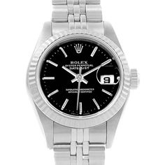 15700 Rolex Datejust 26mm Steel White Gold Black Dial Ladies Watch 69174 SwissWatchExpo