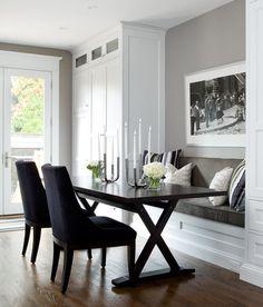 Kitchen nook. Wall color is Escarpment from Benjamin Moore