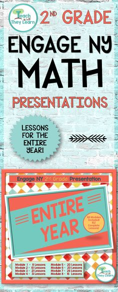 Engage NY presentations to teach the entire year's math lessons for second grade. Covers the entire 2nd grade year of Engage NY math. Engage NY/Eureka math are Common Core Aligned and awesome math curriculums, but hard to teach from a manual. Put down your lesson plans and use these Engage New York presentations to keep students engaged. PDF format allows slides to work in classrooms that use interactive whiteboards or anywhere you would show a Power Point presentation.