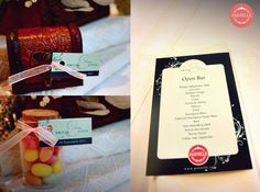 vintage wedding personalized menu and favors