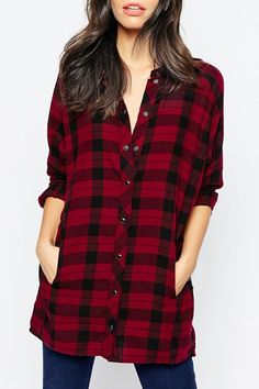Red Plaid Long Sleeves Shirt  #zaful #plaid $16.49