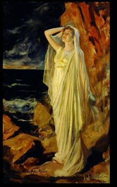 Aino Ackté as Alcestis on the Banks of the Styx, Role Portrait 1902 - ALBERT EDELFELT - Aino Ackté Alcestena Styx-virran rannalla roolikuva - öljy kankaalle - (Gluckin ooppera; Vincent Van Gogh, Romantic Scenes, European Paintings, Oil Painters, Pre Raphaelite, Impressionist Paintings, Classical Art, Ancient Rome, Portrait Art